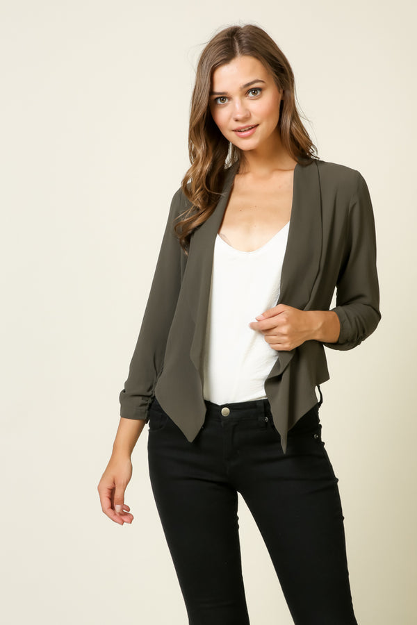 Cropped Rouch Sleeve Blazer