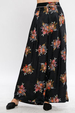 Satin Wide Leg Printed Pants