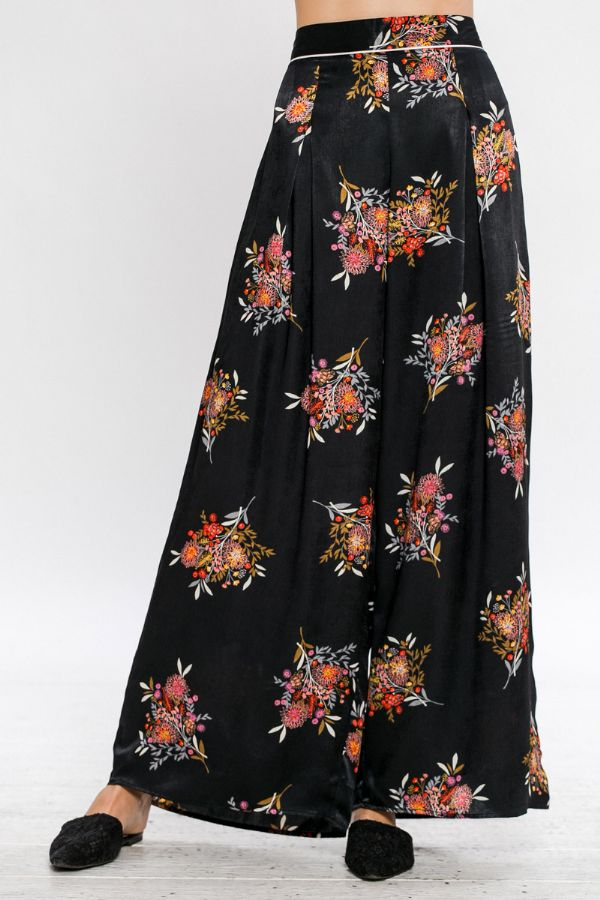 SATIN WIDE LEG PRINTED PANT