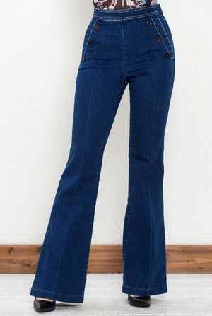BUTTON SIDE DENIM BELL TROUSER