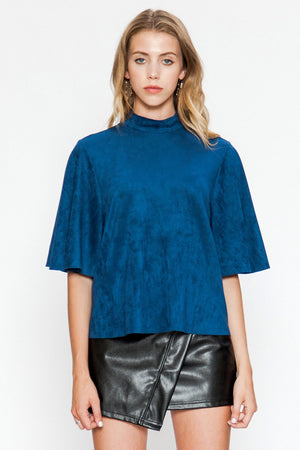 High Neck Faux Suede Top