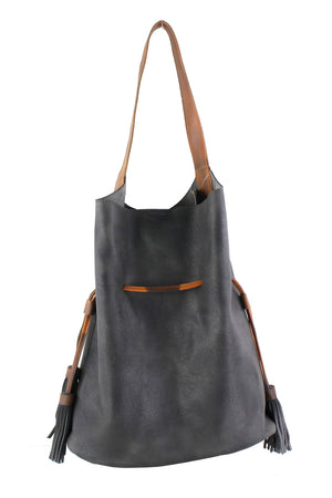 Side Cinch Drawstring Bucket Bag
