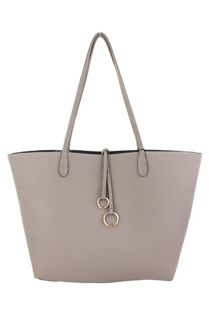 REVERSIBLE TOTE WITH RING TASSEL