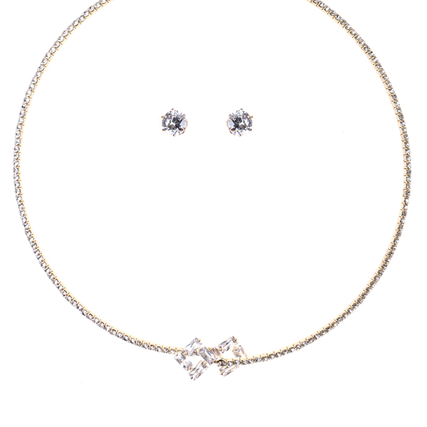Square Solitaires Wrap Necklace