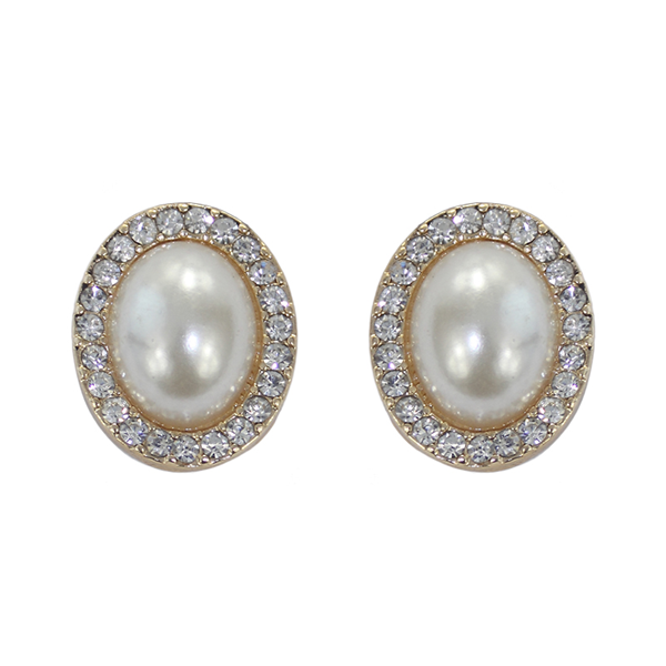 Pearl & Diamond Oval Stud ER