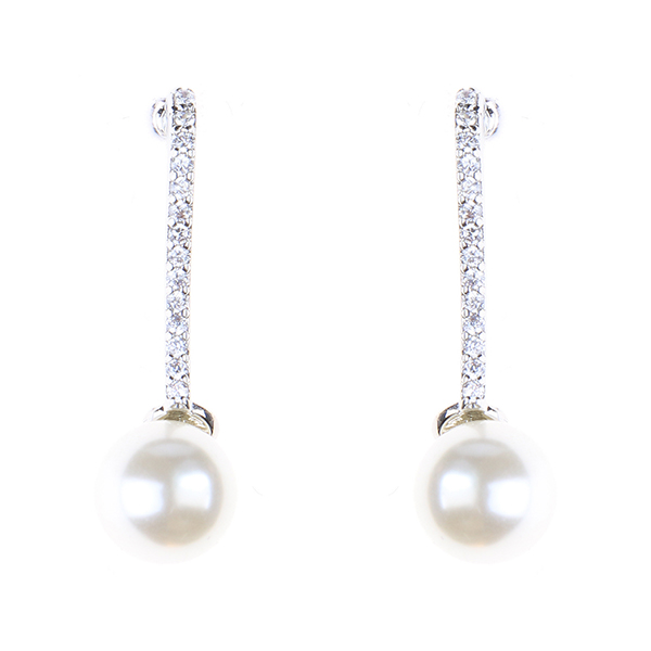 Diamond String Pearl Drop ER