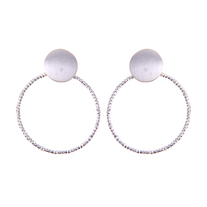 Disc Crystal Hoop Earrings