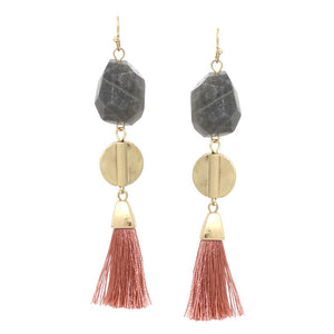 Layered Stone Fringe Earrings