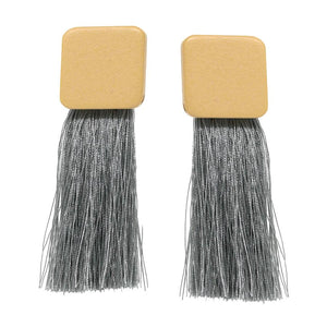 Square Fringe Stmt Earrings