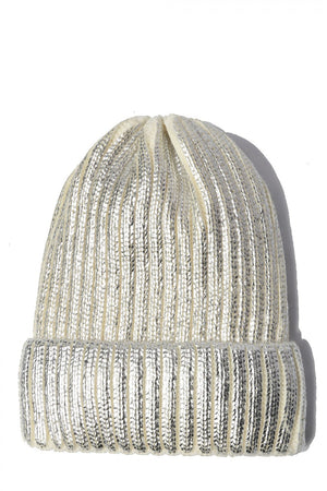 Metalic Ribbed Knit Cap