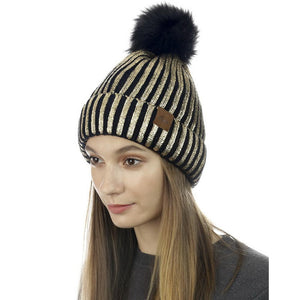 Metalic Ribbed Pom Hat