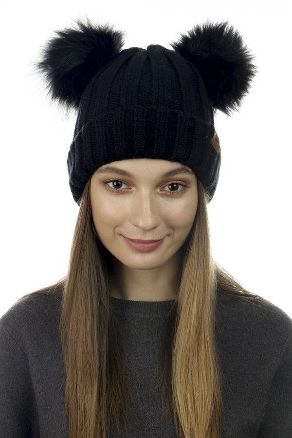 Pom Pom Ears Knit Hat