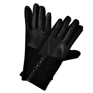 Leather Trim 3 Button Gloves