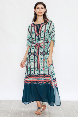 Tie Waist Kaftan Maxi Dress