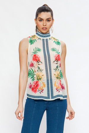 Smockneck Sleeveless Blouse