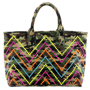 Neon Studded Camo Tote
