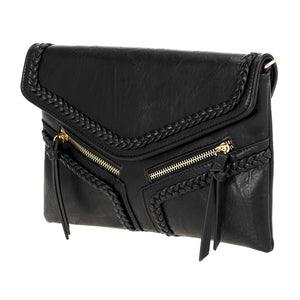 Double Zip Braid Stitched Crossbody Clutch