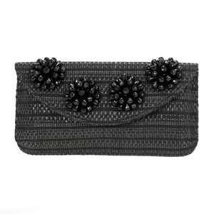 Beaded Flower Straw Clutch