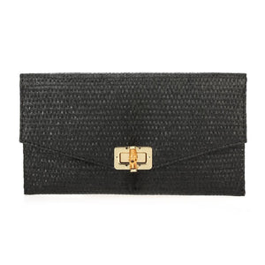 Bamboo Envelop Clutch with Lock