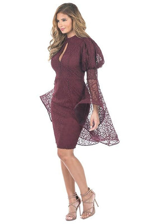 LACE KEYHOLE DRESS WITH SWING SLEEVES