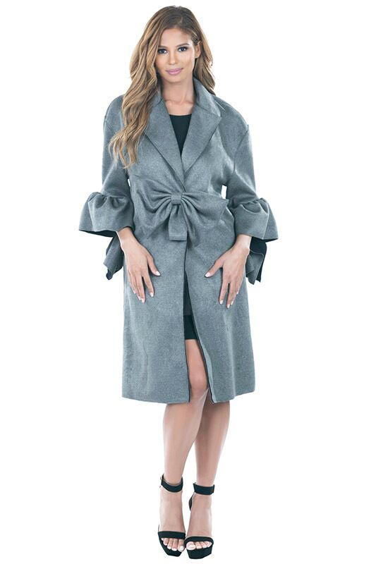 Bow Coat With Poof Sleeves