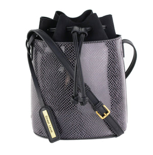 SNAKE SKIN CINCHED BUCKET BAG