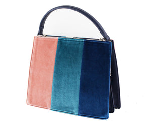 Velvet Color Block Handbag