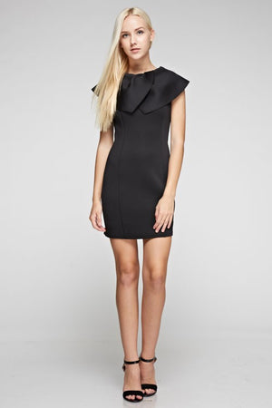 Ruffle Neck Scuba Bodycon Dress
