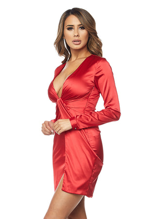 Tie Front Sexy Silky Dress