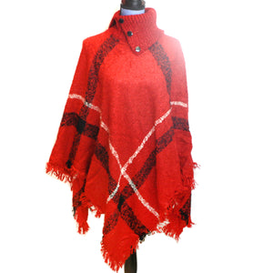 Turtleneck Plaid Poncho