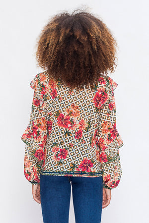 Mixed Print With Ruffle Sleeve Blouse