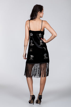 Embroid Velvet Fringe Dress