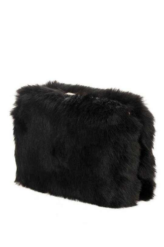 Faux Fur Box Clutch with Chain