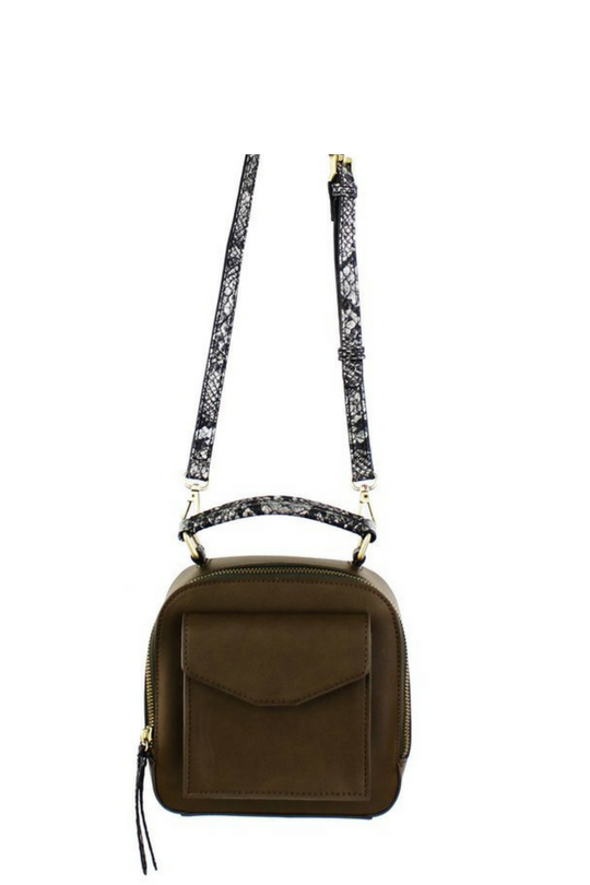 MINI CONVERITBLE CLUTCH - BACKPACK WITH SNAKE TRIM