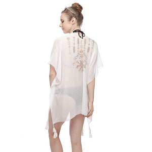 Embroidered Back Poncho with Tassels