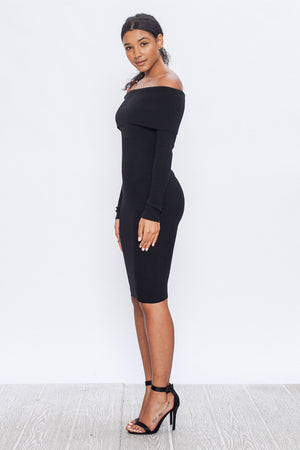 Off-The-Shoulder Knit Bodycon Dress