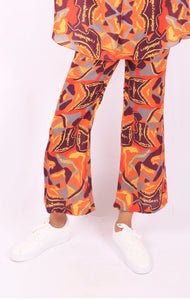 Orange Mess Kick Flare Trousers
