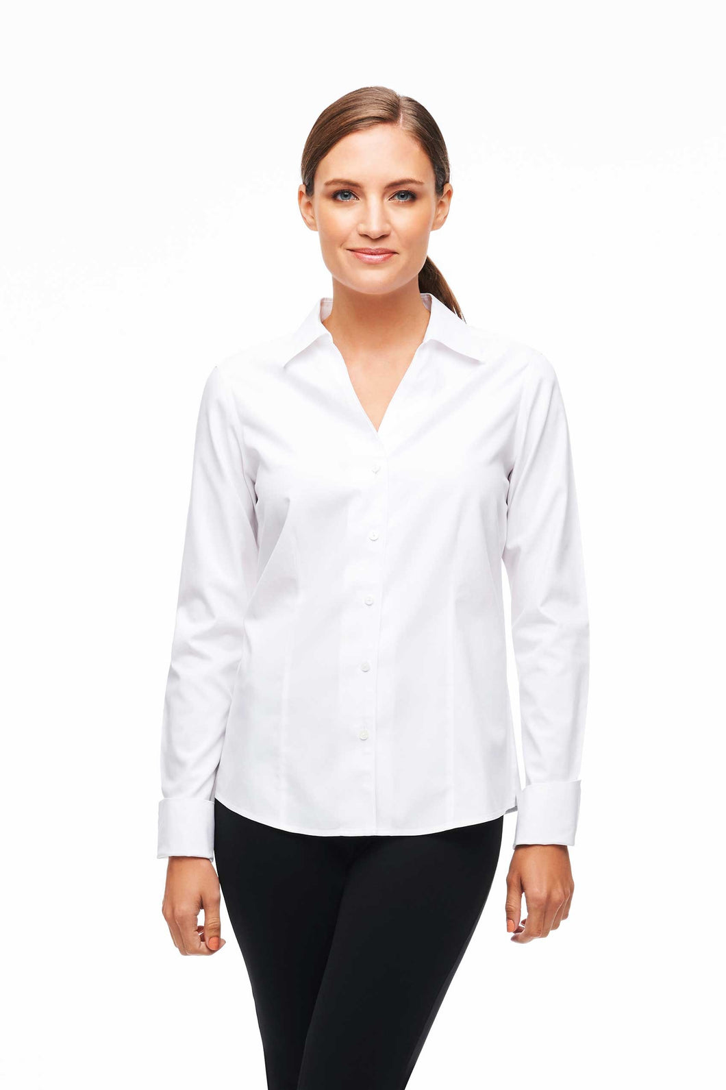 Foxcroft - Lauren Button Up Top WHITE 8