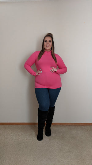 Mock Neck Long Sleeve Top - Pink