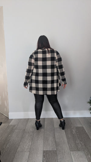 Long Sleeve Plaid Tunic Top - Ivory/Black