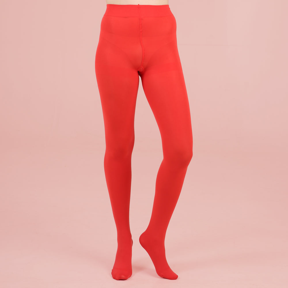 Bright Red Opaque Tights - 80 Denier