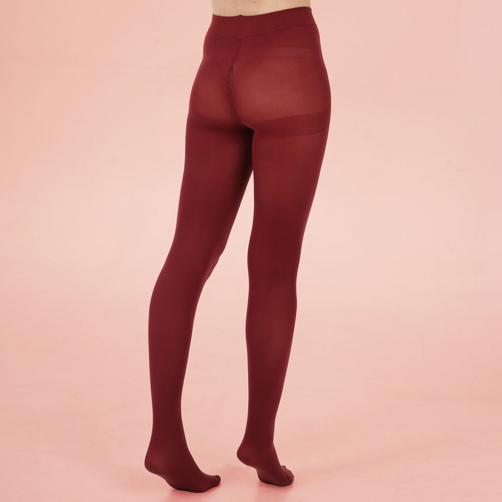 Burgundy Opaque Tights - 80 Denier