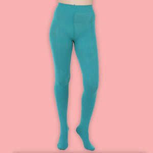 Turquoise Opaque Tights - 80 Denier