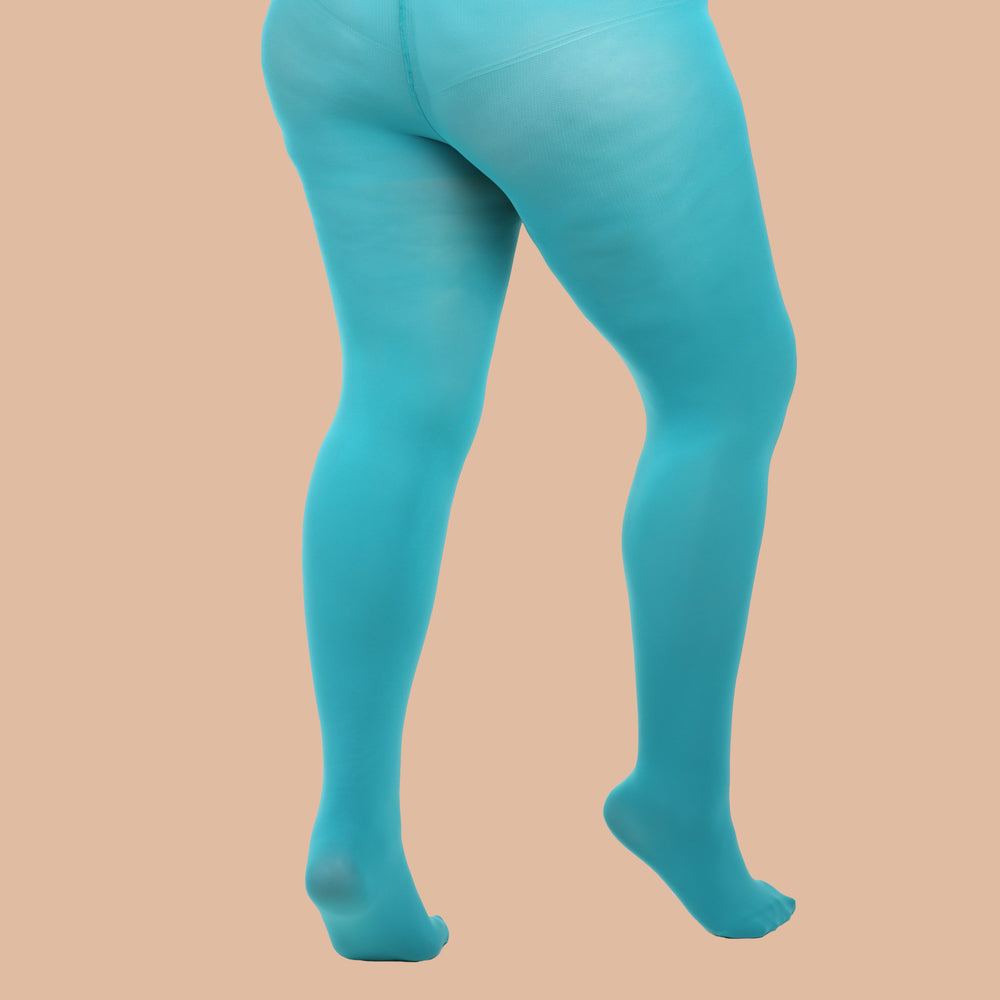 Load image into Gallery viewer, Turquoise Opaque Tights - 80 Denier