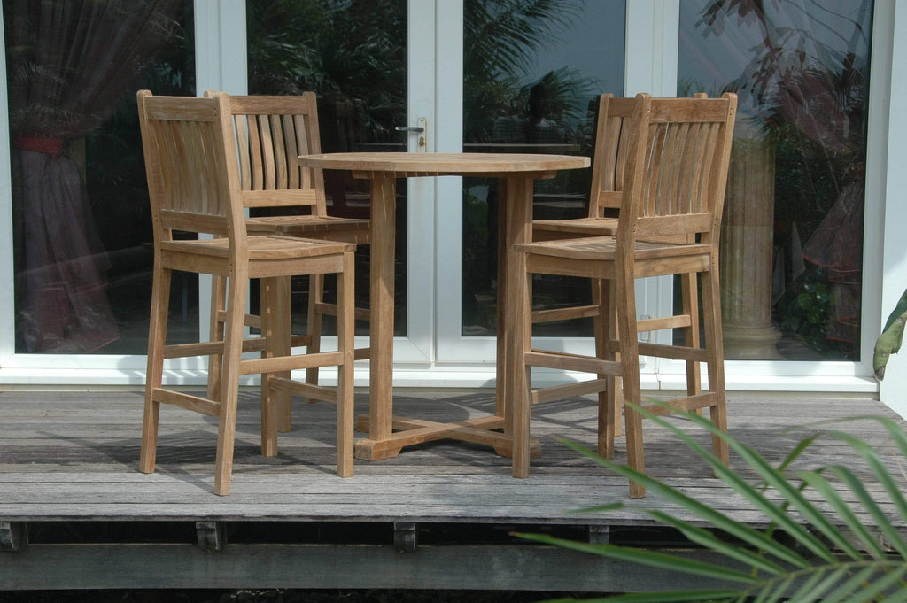 Patio Furniture Land ANDERSON TEAK Bahama Avalon 5-Pieces Round Bar Set Dining