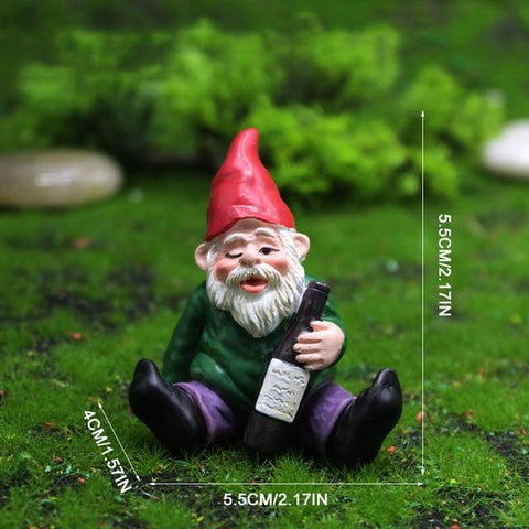 Patio Furniture Land Drunk Dwarf Landscape Ornament Sitting drunk dwarf Garden