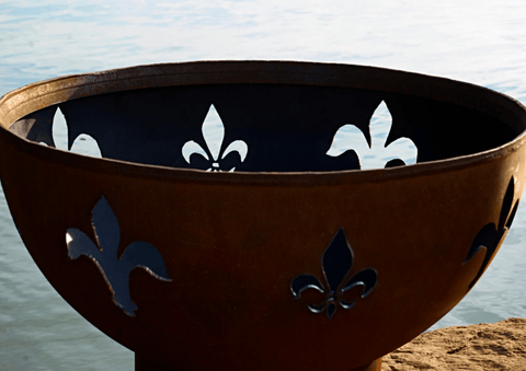 Patio Furniture Land FIRE PIT ART Fleur de Lis Outdoor Warmer