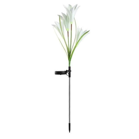 Patio Furniture Land Lily Solar Garden Stake Lights White / 1 pack