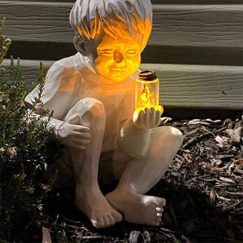Patio Furniture Land Solar Fireflies in Jar Garden Sculpture Boy Outdoor Lighting