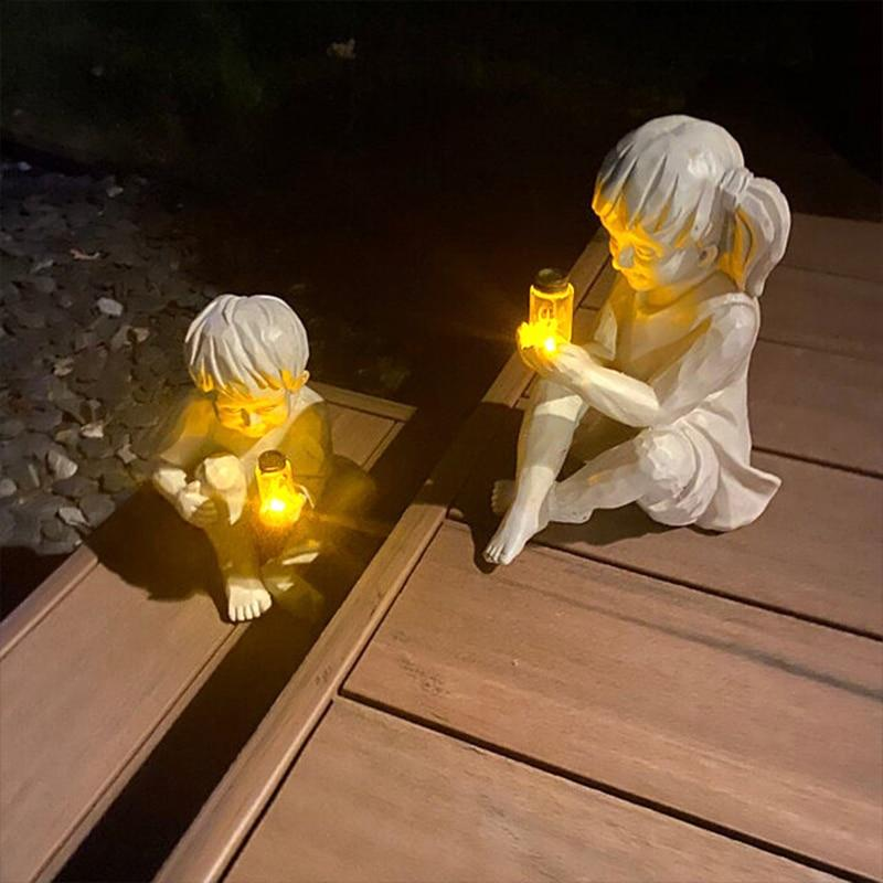 Patio Furniture Land Solar Fireflies in Jar Garden Sculpture Outdoor Lighting